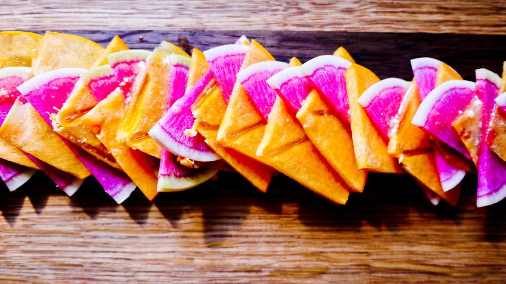 persimmon radish close up